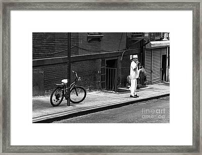 Chinatown Cigarette Break Mono Framed Print by John Rizzuto