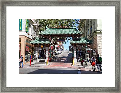 Chinatown Gate On Grant Avenue In San Francisco Framed Print by Wingsdomain Art and Photography