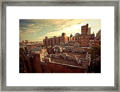Chinatown Rooftop Graffiti And The Brooklyn Bridge - New York City Framed Print by Vivienne Gucwa
