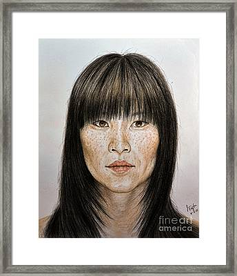 Chinese Beauty With Bangs Framed Print by jim Fitzpatrick
