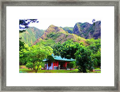 Chinese Pagoda In Maui Framed Print by Michael Rucker
