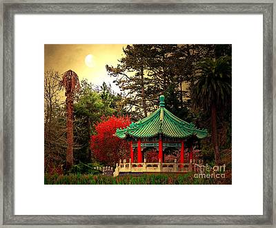 Chinese Pavilion Under Golden Moonlight Framed Print by Wingsdomain Art and Photography
