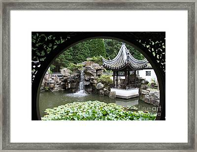 Chinese Pavillon Through Window Framed Print by Christiane Schulze Art And Photography