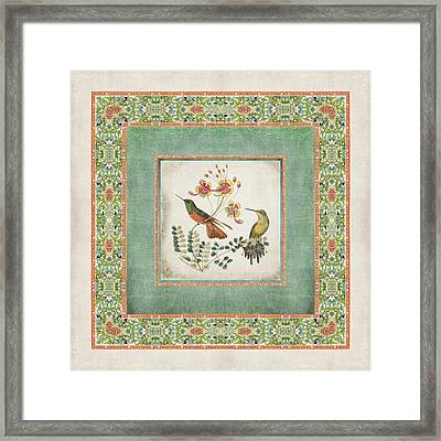 Chinoiserie Vintage Hummingbirds N Flowers 1 Framed Print by Audrey Jeanne Roberts
