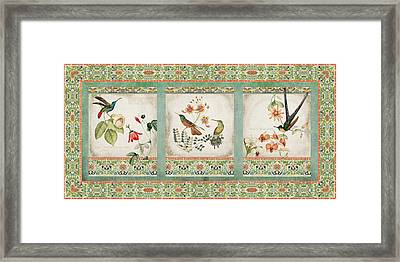 Triptych - Chinoiserie Vintage Hummingbirds N Flowers Framed Print by Audrey Jeanne Roberts