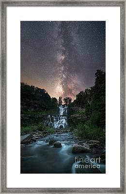 Chittenango Falls Under The Milky Way Framed Print by Michael Ver Sprill