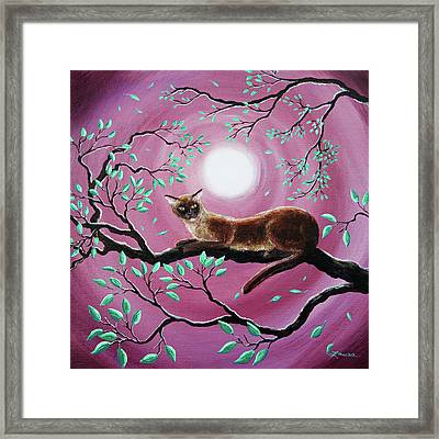 Chocolate Burmese Cat In Dancing Leaves Framed Print by Laura Iverson