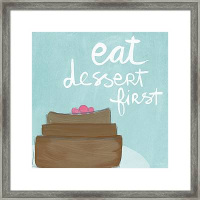Chocolate Cake Dessert First- Art By Linda Woods Framed Print by Linda Woods