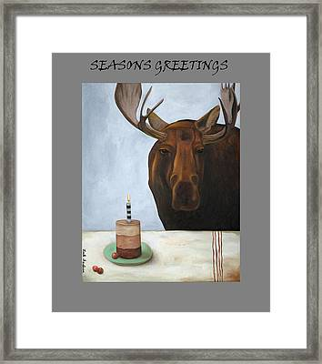 Chocolate Moose Greetings Framed Print by Leah Saulnier The Painting Maniac