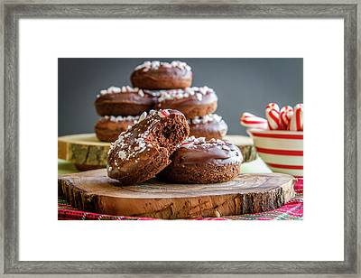 Chocolate Peppermint Iced Donuts Framed Print by Teri Virbickis