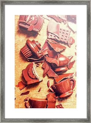 Chocolate Tableware Destruction Framed Print by Jorgo Photography - Wall Art Gallery