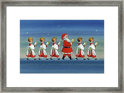 Choirboys And Santa Framed Print by Stanley Cooke