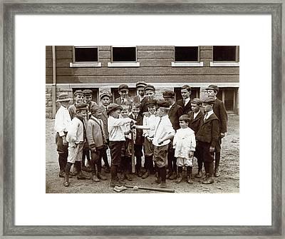 Choosing Baseball Teams Framed Print by Harvey Porch