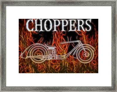 Chopper Motorcycle In Flames Framed Print by Dan Sproul