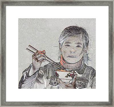 Chopsticks And Rice Framed Print by Jim Justinick