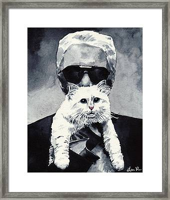 Choupette Cat And Karl Lagerfeld Framed Print by Laura Row