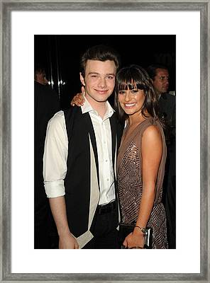 Chris Colfer, Lea Michelle At Arrivals Framed Print by Everett