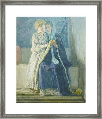 Christ And His Mother Studying The Scriptures Framed Print by Henry Ossawa Tanner