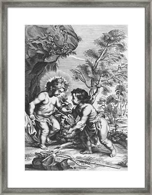 Christ And John The Baptist  Behold The Lamb Of God Framed Print by Gaspar Huberti