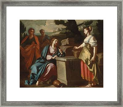 Christ And The Woman Of Samaria At The Well Framed Print by Francesco Solimena