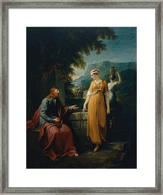 Christ And The Woman Of Samaria Framed Print by Mountain Dreams