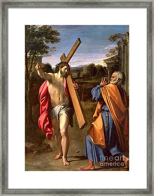 Christ Appearing To St. Peter On The Appian Way Framed Print by Annibale Carracci