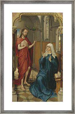 Christ Appearing To The Virgin Framed Print by Follower Of Rogier Van Der Weyden