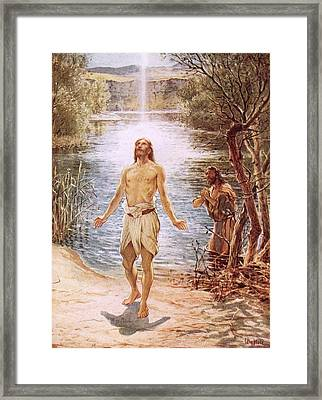 Christ Baptised By John The Baptist Framed Print by William Brassey Hole