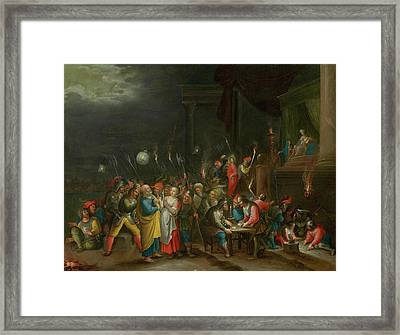 Christ Before Annas And The Denial Of Saint Peter Framed Print by Francken