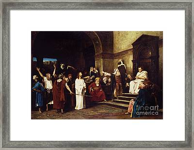 Christ Before Pilate Framed Print by Mihaly Munkacsy