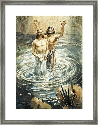 Christ Being Baptised Framed Print by Henry Coller