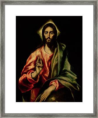 Christ Blessing Framed Print by El Greco