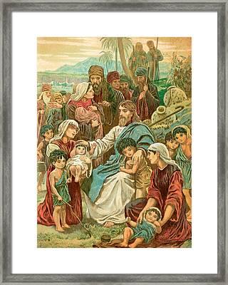 Christ Blessing Little Children Framed Print by English School