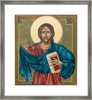 Christ Blessing Framed Print by Mary jane Miller