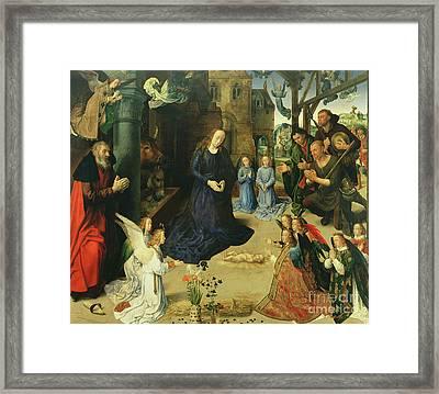 Christ Child Adored By Angels Framed Print by Hugo van der Goes