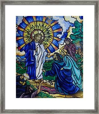 Christ Healing Blind Bartimaeus Framed Print by Antoinette QUEENNETTATITI Allen