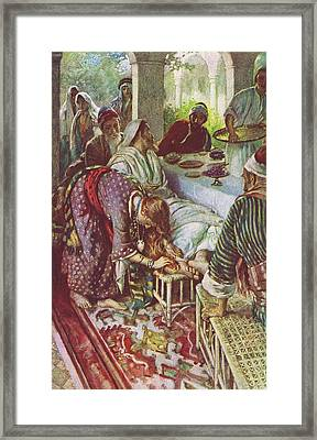 Christ In The Pharisee's House Framed Print by Harold Copping