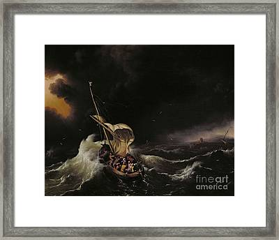 Christ In The Storm On The Sea Of Galilee Framed Print by Ludolph Backhuysen