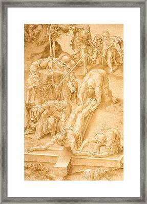 Christ Nailed To The Cross Framed Print by Lelio Orsi da Novellara