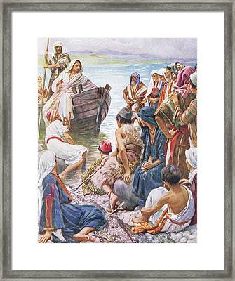Christ Preaching From The Boat Framed Print by Harold Copping