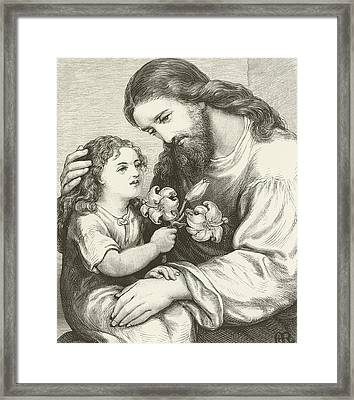 Christ Receiving A Child Framed Print by English School