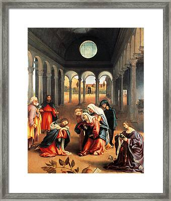 Christ Taking Leave Of His Mother Framed Print by Lorenzo Lotto