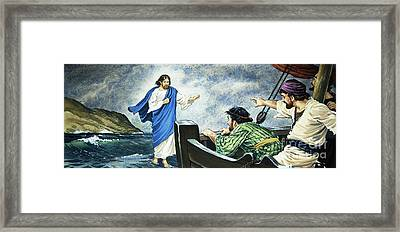 Christ Walking On The Water Framed Print by English School