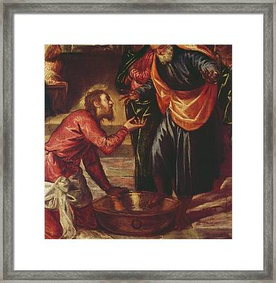 Christ Washing The Feet Of The Disciples Framed Print by Tintoretto
