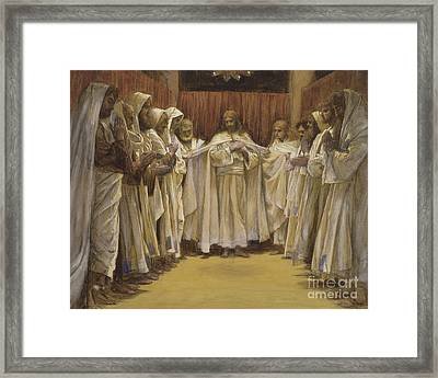 Christ With The Twelve Apostles Framed Print by Tissot