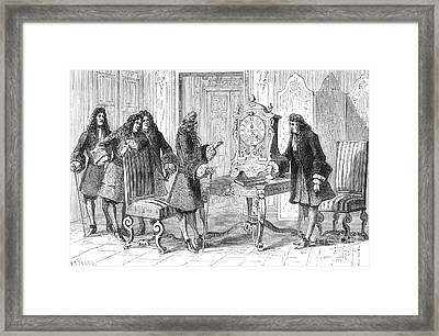 Christiaan Huygens Presents To Louis Xiv Framed Print by Science Source