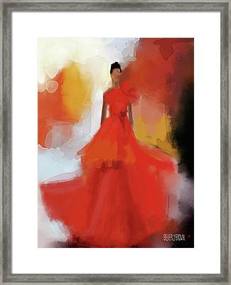 Christian Siriano Red Dress Fashion Illustration Framed Print by Beverly Brown Prints