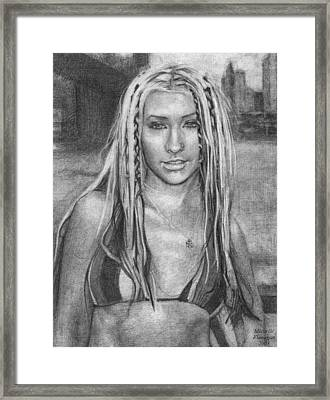Christina Aguilera Framed Print by Michelle Flanagan