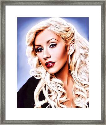 Christina Aquilera Portrait Framed Print by Scott Wallace