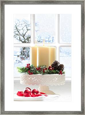 Christmas Candles Display Framed Print by Amanda Elwell